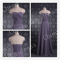 Empire Evening Dresses A-line Sweetheart Ruffle Cheap Lace-up Long Bridesmaid Dress Party Dress Evening Dress Prom Dress Formal Dress 2014