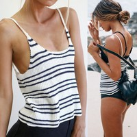 Stylish Lady Women's Fashion Casual Sexy Strap Backless Knitting Stripe Crop Tops Tank Top White Camisole