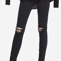 Black High Waisted Distressed Knee Jean Legging from EXPRESS