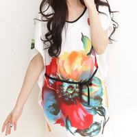 Floral Print Short Sleeve Summer Dress