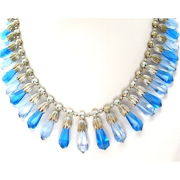 Coro Blue Festoon Necklace Vintage
