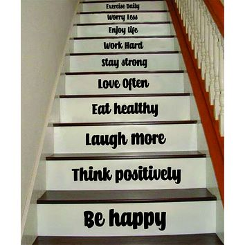 Be Happy Think Positively Stairs V2 Quote Wall Decal Sticker Room Art Vinyl Family Home House Staircase Dream Inspirational Love