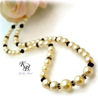 Black and White Necklace, Bridal Necklace, Wedding Jewelry, Pearl Bridal Jewelry, Prom Jewelry, Prom Necklace, Black and White Jewelry | KyKy's Bridal, Handmade Bridal Jewelry, Wedding Jewelry