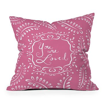 Lisa Argyropoulos You Are Loved Blush Throw Pillow