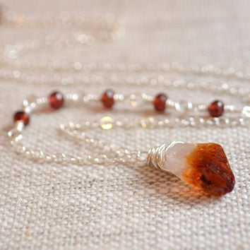 NEW Raw Citrine Necklace, Garnet Gemstone, Red, Dark Honey, Real Birthstone, Wire Wrapped, Sterling Silver Jewelry, Free Shipping