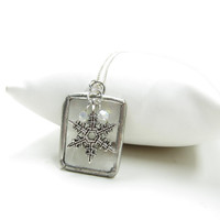 Snowflake Necklace Stained Glass Frosted Soldered Pendant on Sterling Silver Chain