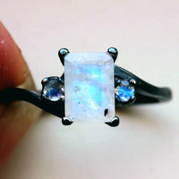 Extremely Fiery Emerald Cut Moonstone With Accent Moonstones in Oxidized Sterling Custom Made in Your Size