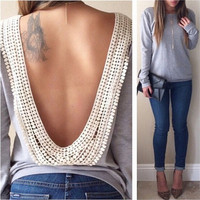 2015 HOT Spring Fashion Women Long Sleeve Lace Grey Open Back Casual T shirt Blouse Top = 1930346756