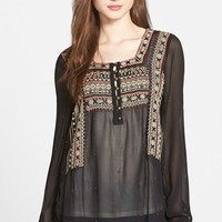 Women's Lucky Brand Embroidered Peasant Top,