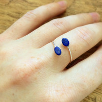 Lapis Lazuli Open Ring, Sterling Silver Ring, Made To Order