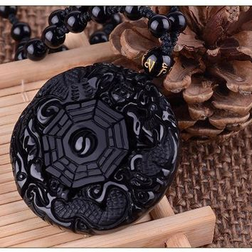 Natural Black Obsidian Dragon Yin Yang Bagua Pendant Necklace
