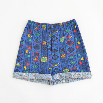 Vintage 90s High Waisted Surf Shorts Crazy Beach Tribal Geometric Print Blue Elastic Waist Size Womens XSmall