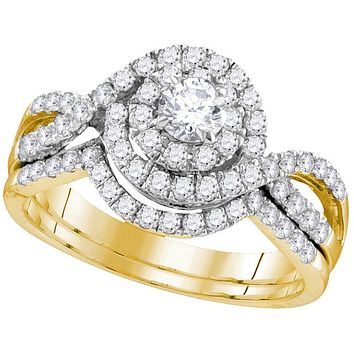 14kt Yellow Gold Womens Round Diamond Swirl Bridal Wedding Engagement Ring Band Set 1.00 Cttw (Certified) 111759