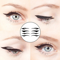 40 pairs - 10 Sets of 4 Pairs of Black Color Winged Eyeliner Temporary Tattoo for Clubbing Party