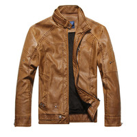 Men's Motorcycle Biker Leather Jaqueta De Couro Masculina Windbreak Coat Jacket