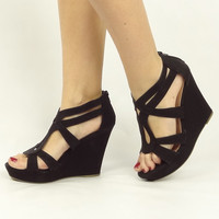 Strappy Open Toe Wedges - Black | .H.C.B.