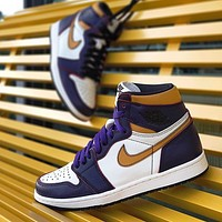 Nike Air Jordan 1 New couple stitching color casual sneakers Shoes