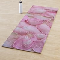 Mom or your name, Pink Rose Petals Two Sides Yoga Mat