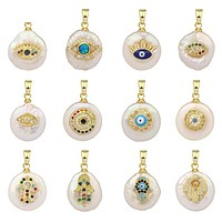 Evil Eye Pearl Pendants Small Necklace