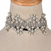New fashion personality diamond pearl necklace