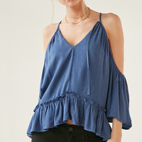Ecote Gauzy Cold-Shoulder Blouse | Urban Outfitters