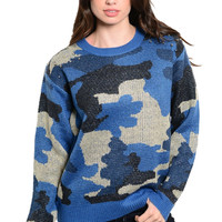 Camouflage Knit Sweater W/ Studded Shoulders
