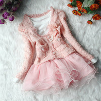 CHRISTMAS NEW YEAR 2pcs baby girl's summer fall spring dress girl toddler clothes pink white 1,2,3,4t skirt