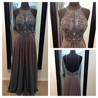 Spaghetti Straps Backless Long Prom Dress Homecoming Dress Formal Evening Dress Party Dress