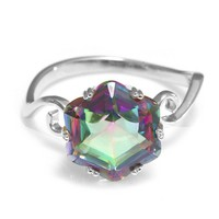 Jewelrypalace Women's 3.2ct Chessboard Cut Natural Mystic Rainbow Topaz 925 Sterling Silver Ring Size 8