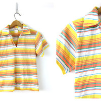 Striped Yellow tshirt short sleeve Polo tee Pullover shirt 70s simple basic collared Women's Spring top Louanne's vintage size Small Medium