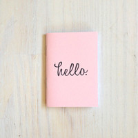 Small Notebook: Hello, Pink, Stocking Stuffer, Stocking Stuffers, Favor, Small, Unique, Wedding, For Him, Gift, Journal, Notebook, RR230