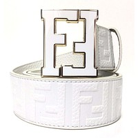 Fendi Belt | Size 36 or 90 cm | White Leather | White Buckle | FF Zucca