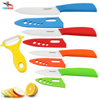 """FINDKING Brand top quality Mother's Day Gifts set Zirconia kitchen knife set Ceramic Knife set 3"""" 4"""" 5"""" 6"""" inch+ Peeler+Covers"""