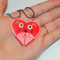 Polymer Clay Valentines Day Totoro Studio Ghibli Kawaii Love Pendant Couples BFF Necklace