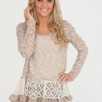 Lace and Ruffle Sweater - Taupe/Ivory