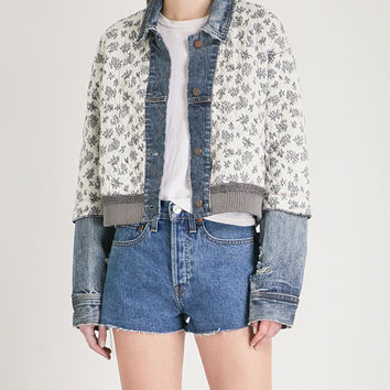 FREE PEOPLE Ditsy floral-print quilted cotton-blend denim jacket