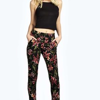 Isabelle Floral Pocket Textured Crepe Trousers