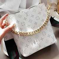 LV New Fashion Monogram Print Shoulder Bag Handbag Crossbody Bag Bucket Bag White