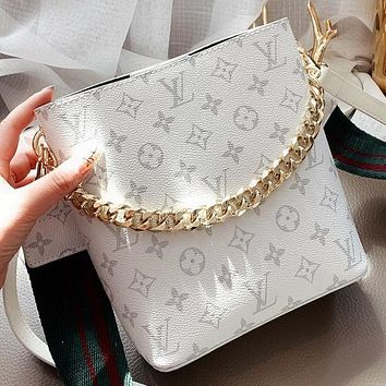 Hipgirls LV New Fashion Monogram Print Shoulder Bag Handbag Crossbody Bag Bucket Bag White