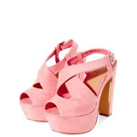 Pink High Vamp Lattice Strap Platform Shoes