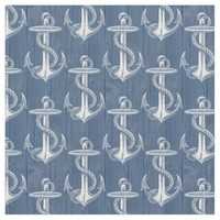 Anchor Vintage Blue Wood Beach Fabric
