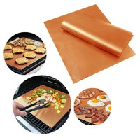 NEW 1PCS Gold BBQ Mats Home Garden Outdoor Copper Chef Grill and Bake Mats Camping BBQ Pad Tool
