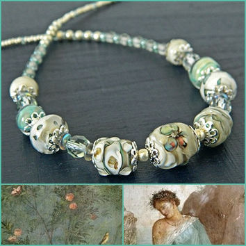 Roman Necklace with Seafoam green and Beige Lampwork beads, Lampwork necklace, Classic glass bead necklace, OOAK Gift for Historian, Pompeii