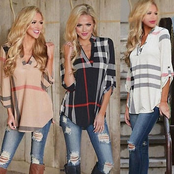 Absolutley Plaid Loose Long Sleeve Casual Maternity Blouse Shirt Top