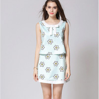 Floral Graphic Ribbon Collar Vest Blouse and Mini Skirt