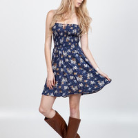 (amu) Fit and flare floral print boho dress