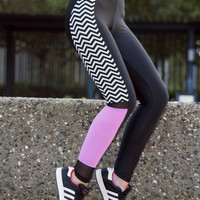 Handmade Black & White Stripes Pink Leggings Athletic Bottoms Pants Stretch Leggings Spandex Fabric Sexy Clothes Net Thanksgiving Gift