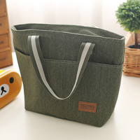 Canvas Solid Insulated Lunch Bento Bags 3 Colors Bolsa Termica