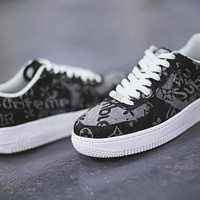 Louis vuitton x Supreme x Nike Air Force 1¡°DenimLV Black¡±AA5360-086