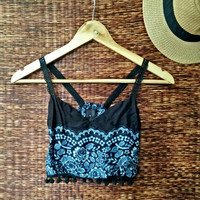 Crop top camisole lace straps pom pom floral mandala print pattern fabric beach bohemian Boho Hippies tribal Cloth Summer festival black
